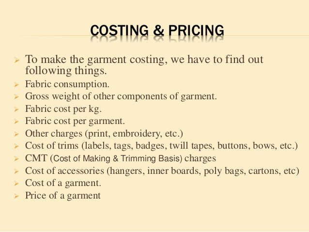 GARMENTS COSTING SHEET (SHIRT) Style No. Description Season Size Date 50001 RAW MATERIAL COST 100% CTN long sleeve men's s...