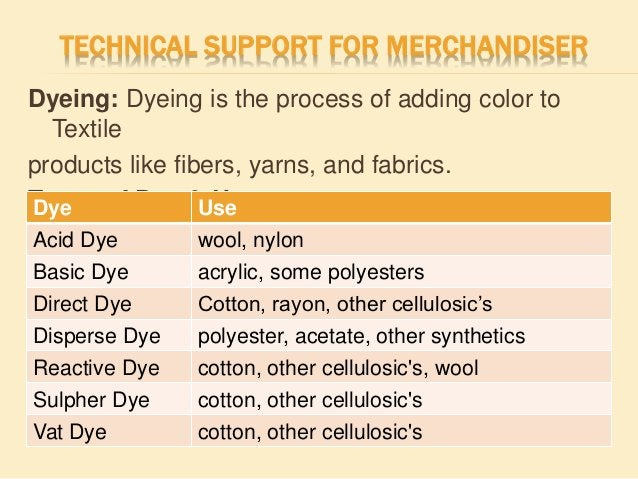 TECHNICAL SUPPORT FOR MERCHANDISER Dyeing: Dyeing is the process of adding color to Textile products like fibers, yarns, a...