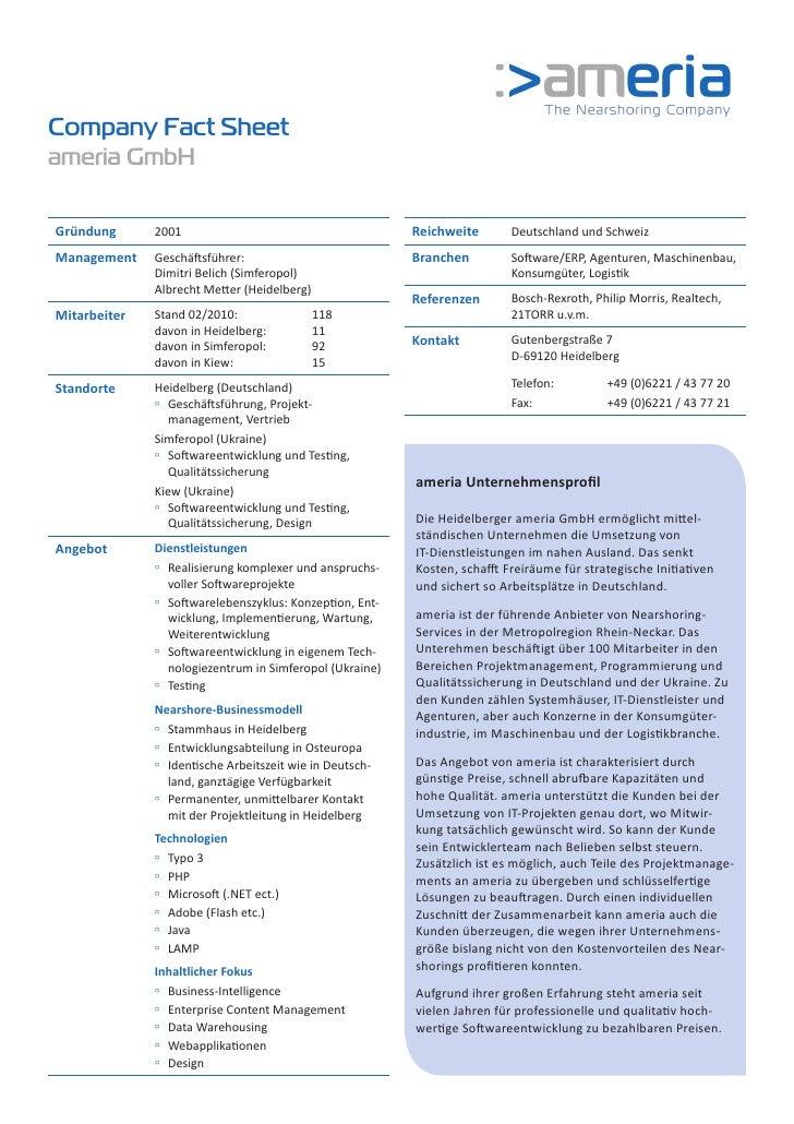 Company Fact Sheet ameria GmbH  Gründung      2001                                       Reichweite       Deutschland und ...