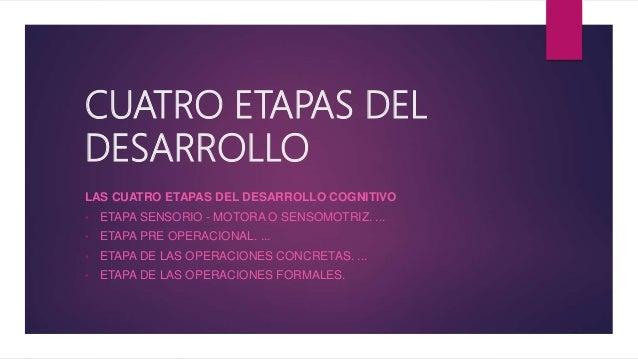CUATRO ETAPAS DEL DESARROLLO LAS CUATRO ETAPAS DEL DESARROLLO COGNITIVO • ETAPA SENSORIO - MOTORA O SENSOMOTRIZ. ... • ETA...