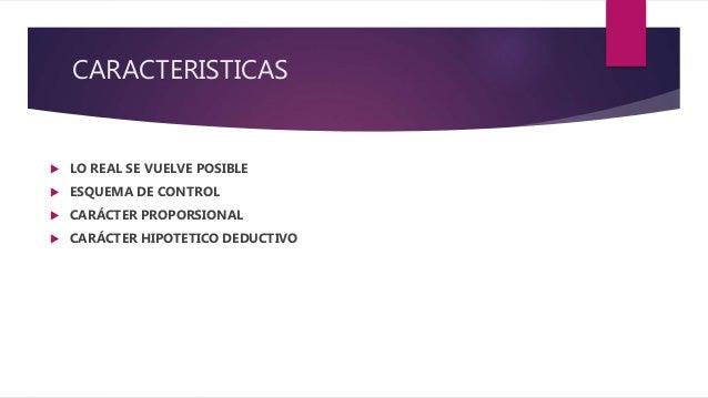 CARACTERISTICAS  LO REAL SE VUELVE POSIBLE  ESQUEMA DE CONTROL  CARÁCTER PROPORSIONAL  CARÁCTER HIPOTETICO DEDUCTIVO
