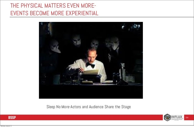 THE PHYSICAL MATTERS EVEN MOREEVENTS BECOME MORE EXPERIENTIAL  Sleep No More-Actors and Audience Share the Stage 104  Wedn...