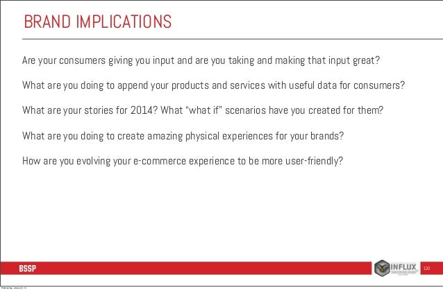 BRAND IMPLICATIONS Are your consumers giving you input and are you taking and making that input great? What are you doing ...
