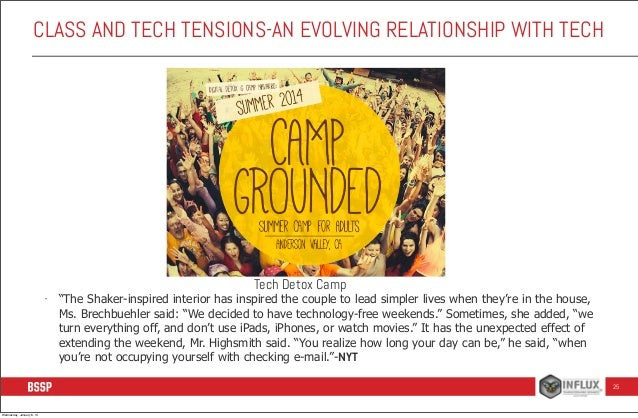 """CLASS AND TECH TENSIONS-AN EVOLVING RELATIONSHIP WITH TECH  Tech Detox Camp  -  """"The Shaker-inspired interior has inspired..."""
