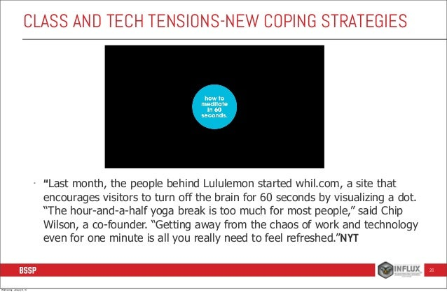 """CLASS AND TECH TENSIONS-NEW COPING STRATEGIES  -  """"Last month, the people behind Lululemon started whil.com, a site that e..."""