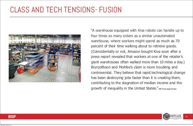 """CLASS AND TECH TENSIONS- FUSION  •  """"A warehouse equipped with Kiva robots can handle up to four times as many orders as a..."""
