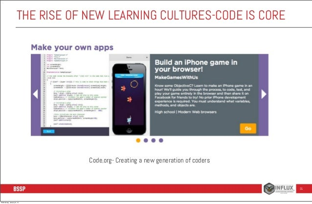 THE RISE OF NEW LEARNING CULTURES-CODE IS CORE  Code.org- Creating a new generation of coders  31  Wednesday, January 8, 1...