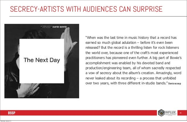 """SECRECY-ARTISTS WITH AUDIENCES CAN SURPRISE  """"When was the last time in music history that a record has earned so much glo..."""