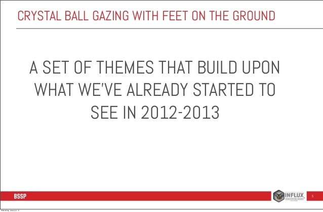 CRYSTAL BALL GAZING WITH FEET ON THE GROUND  A SET OF THEMES THAT BUILD UPON WHAT WE'VE ALREADY STARTED TO SEE IN 2012-201...