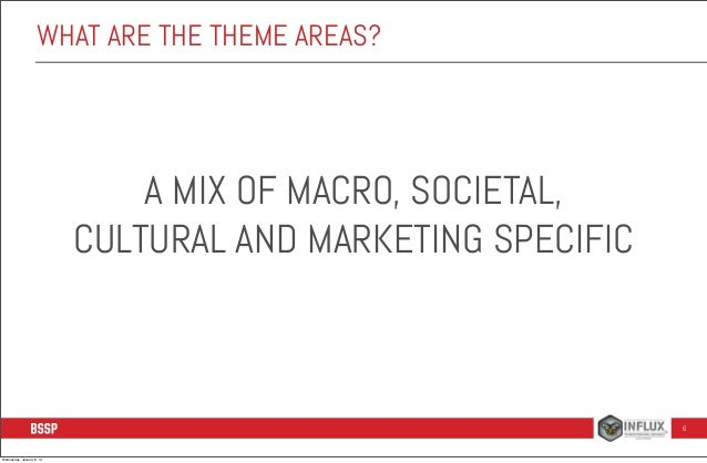 WHAT ARE THE THEME AREAS?  A MIX OF MACRO, SOCIETAL, CULTURAL AND MARKETING SPECIFIC  6  Wednesday, January 8, 14