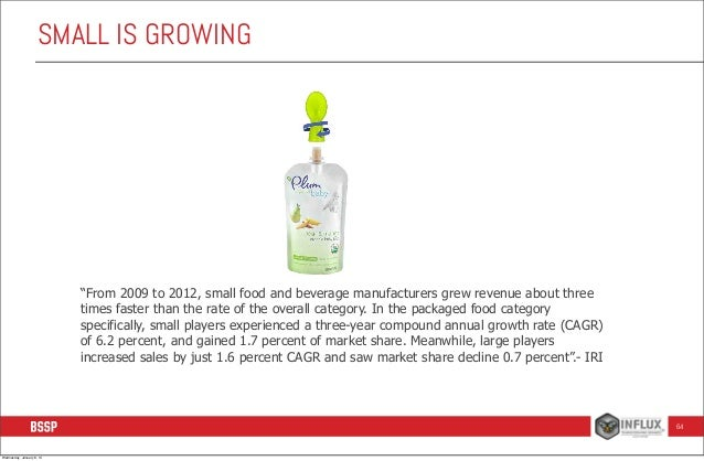 """SMALL IS GROWING  """"From 2009 to 2012, small food and beverage manufacturers grew revenue about three times faster than the..."""
