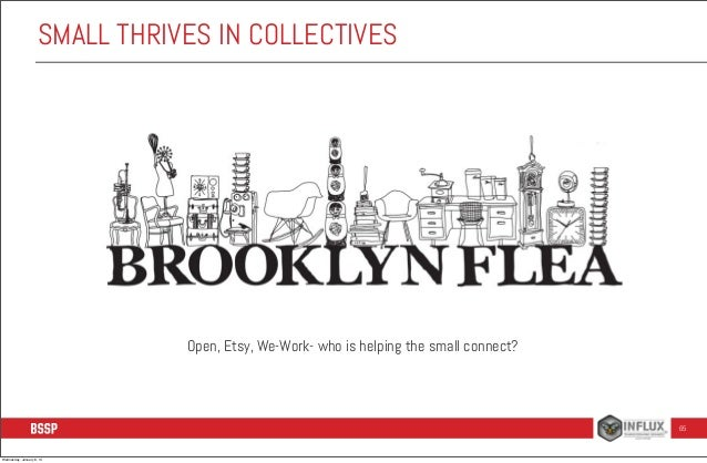 SMALL THRIVES IN COLLECTIVES  Open, Etsy, We-Work- who is helping the small connect?  65  Wednesday, January 8, 14