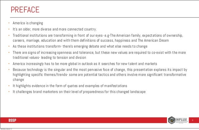 PREFACE •  America is changing  •  It's an older, more diverse and more connected country.  •  Traditional institutions ar...