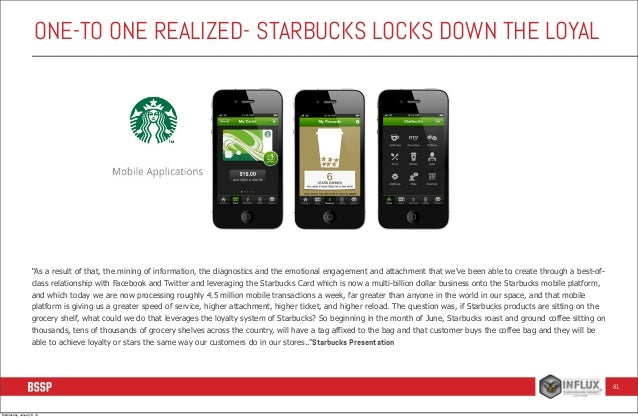 """ONE-TO ONE REALIZED- STARBUCKS LOCKS DOWN THE LOYAL  """"As a result of that, the mining of information, the diagnostics and ..."""
