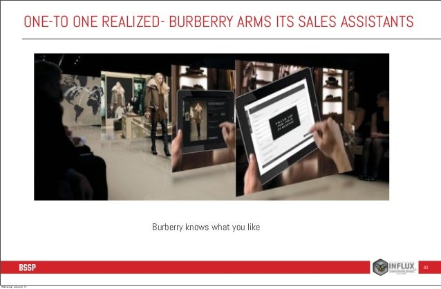 ONE-TO ONE REALIZED- BURBERRY ARMS ITS SALES ASSISTANTS  Burberry knows what you like  83  Wednesday, January 8, 14