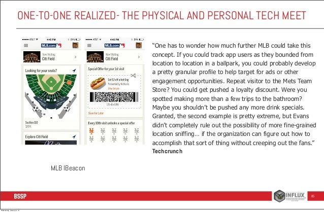 """ONE-TO-ONE REALIZED- THE PHYSICAL AND PERSONAL TECH MEET """"One has to wonder how much further MLB could take this concept. ..."""