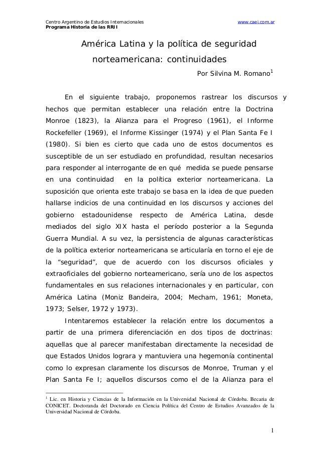 Centro Argentino de Estudios Internacionales Programa Historia de las RRII  www.caei.com.ar  América Latina y la política ...