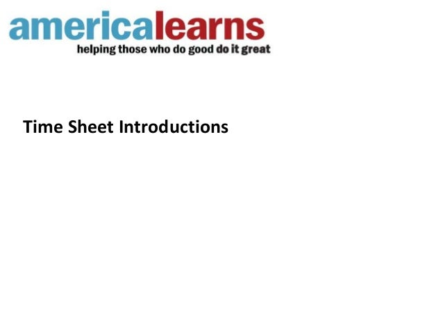 Time Sheet Introductions