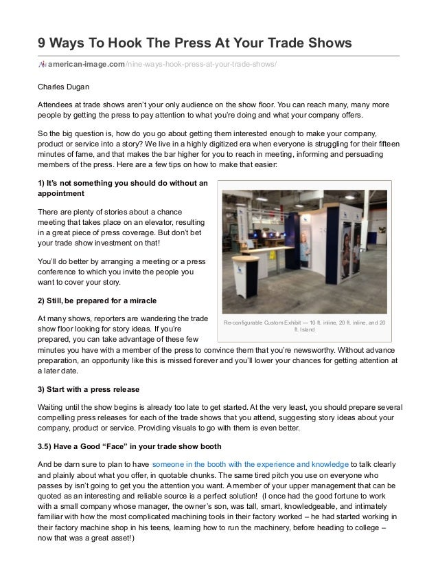 Re-configurable Custom Exhibit — 10 ft. inline, 20 ft. inline, and 20 ft. Island 9 Ways To Hook The Press At Your Trade Sh...