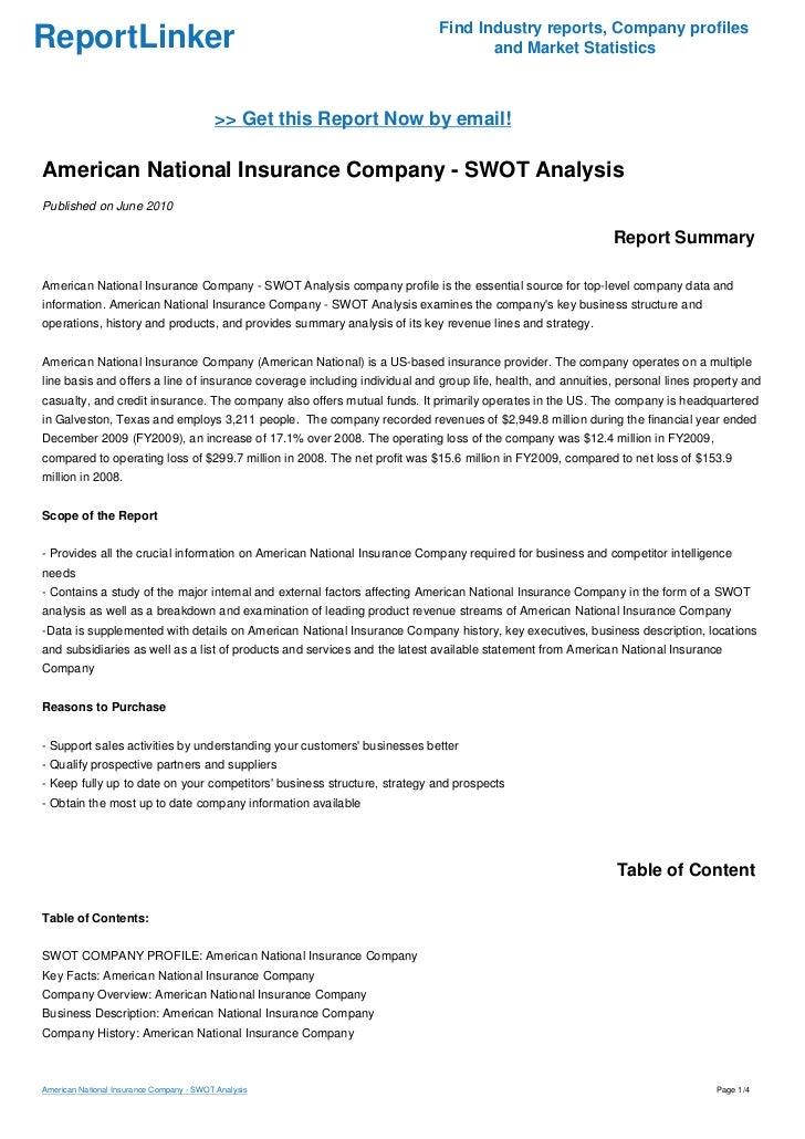 American National Insurance Company Swot Analysis