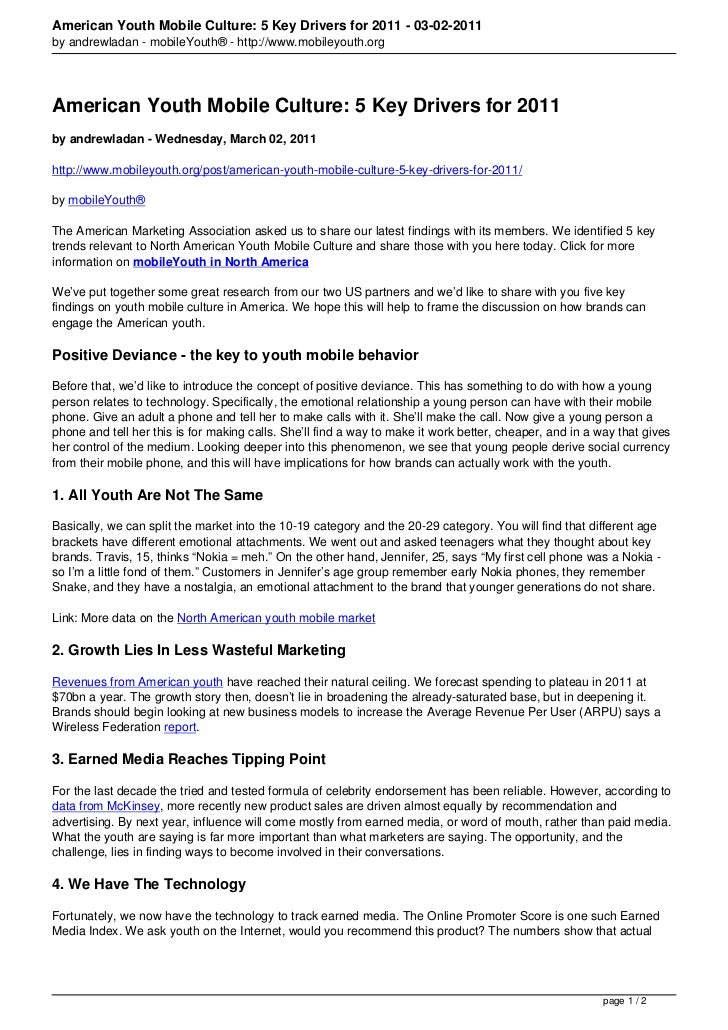 American Youth Mobile Culture: 5 Key Drivers for 2011 - 03-02-2011by andrewladan - mobileYouth® - http://www.mobileyouth.o...
