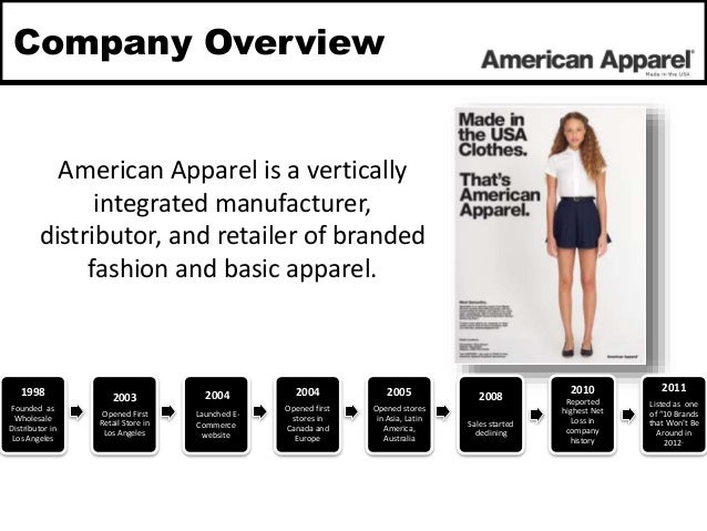 strategic corporate development history of american apparel Clothing manufacturer american apparel, known for its provocative advertising, has come under fire recently for requiring store employees to provide full-length photographs of themselves to.