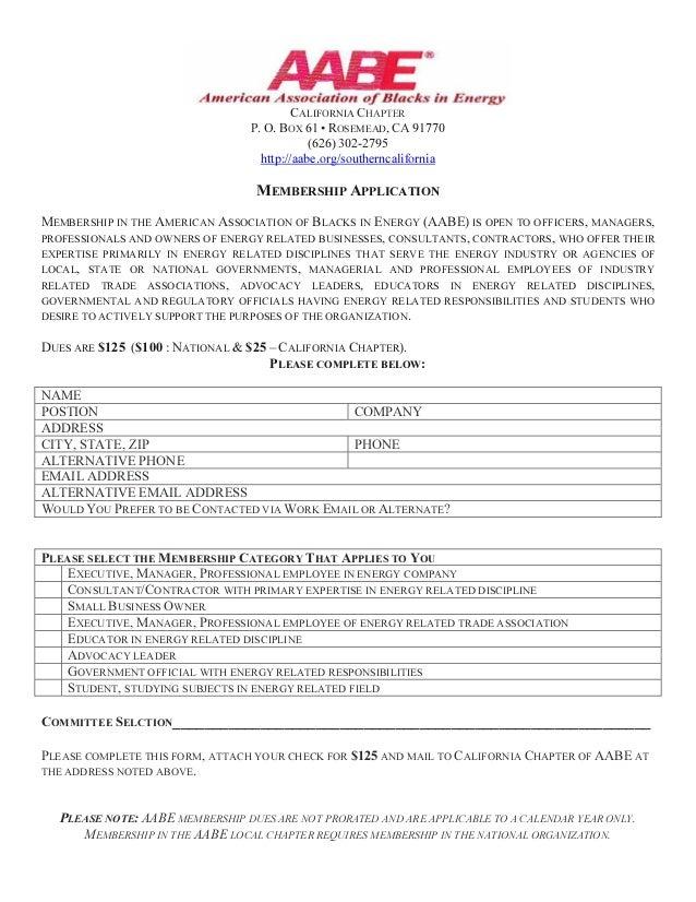 CALIFORNIA CHAPTER P. O. BOX 61 • ROSEMEAD, CA 91770 (626) 302-2795 http://aabe.org/southerncalifornia MEMBERSHIP APPLICAT...