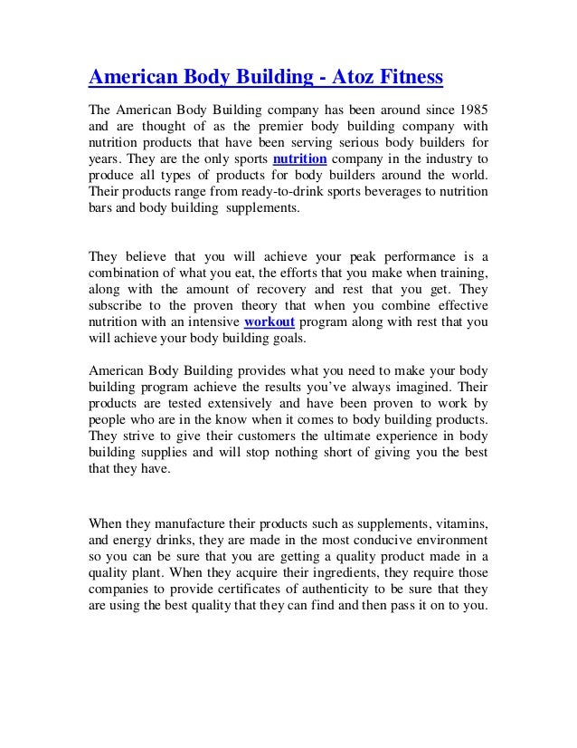 American Body Building Atoz Fitness American Body Building Atoz Fitness The  American Body Building Company Has