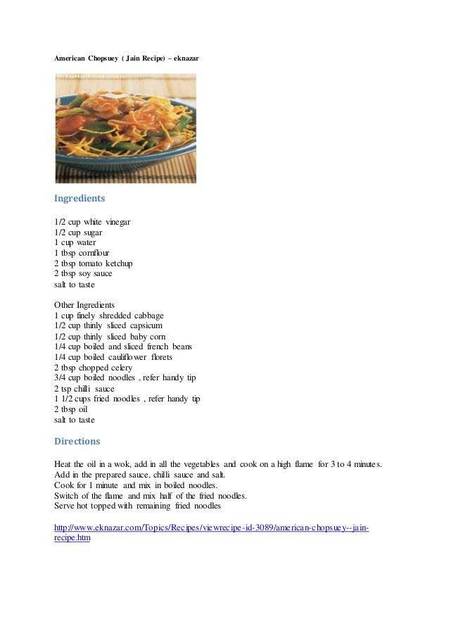 recipe: jain american chopsuey recipe [33]