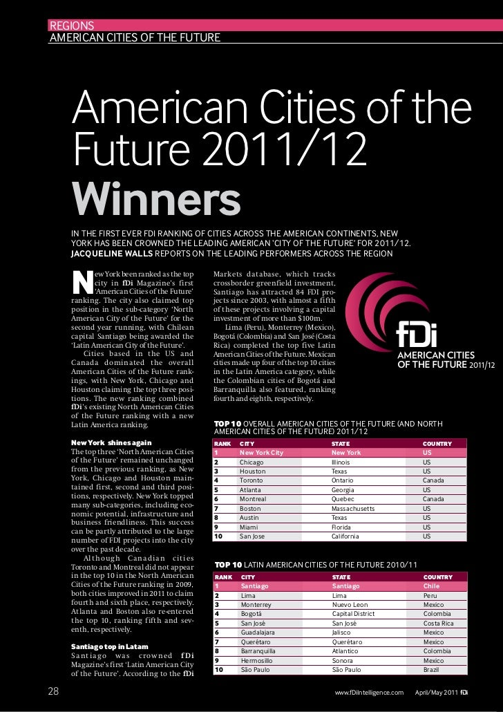 regIONsamerIcaN cItIes Of the future     American Cities of the     Future 2011/12     Winners     IN the fIrst ever fDI r...