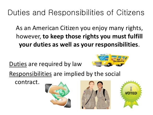 duties obligations citizen The obligation to protect is the duty to prevent third parties from interfering with,  hindering or  a the states' obligations from the standpoint of citizen security.