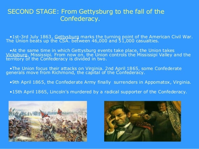 SECOND STAGE: From Gettysburg to the fall of the             Confederacy. •1st-3rd July 1863, Gettysburg marks the turning...