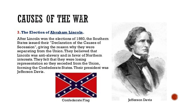 the three main causes of the american civil war Civil war can be defined as a war which originates within a nation or state among the citizens over certain issues such as misunderstanding amid the citizens.