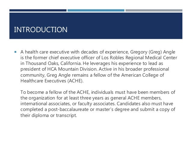 American College of Healthcare Executive - Fellow Requirements