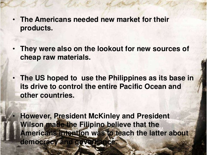 • The American colonial government expanded andspeeded up the production of raw materials like sugar,coconut, wood product...