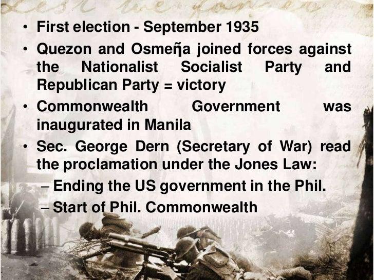 "• Establishment of Phil. Congress   – Senate   – House of Representatives• Quezon reorganized gov""t bureaucracy – new  dep..."