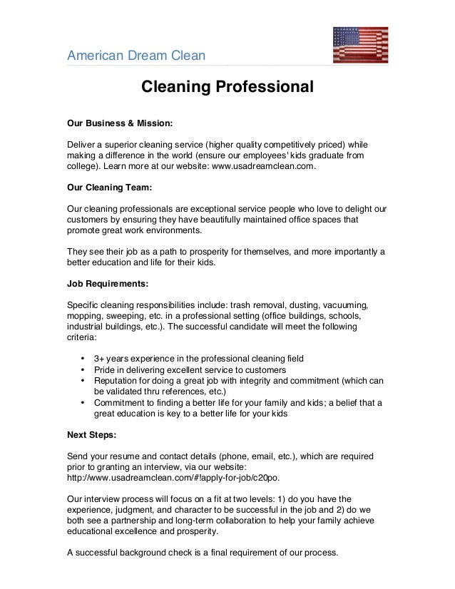 cleaning service job description - pacq.co