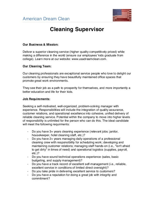 American Dream Clean  Supervisor Job Description