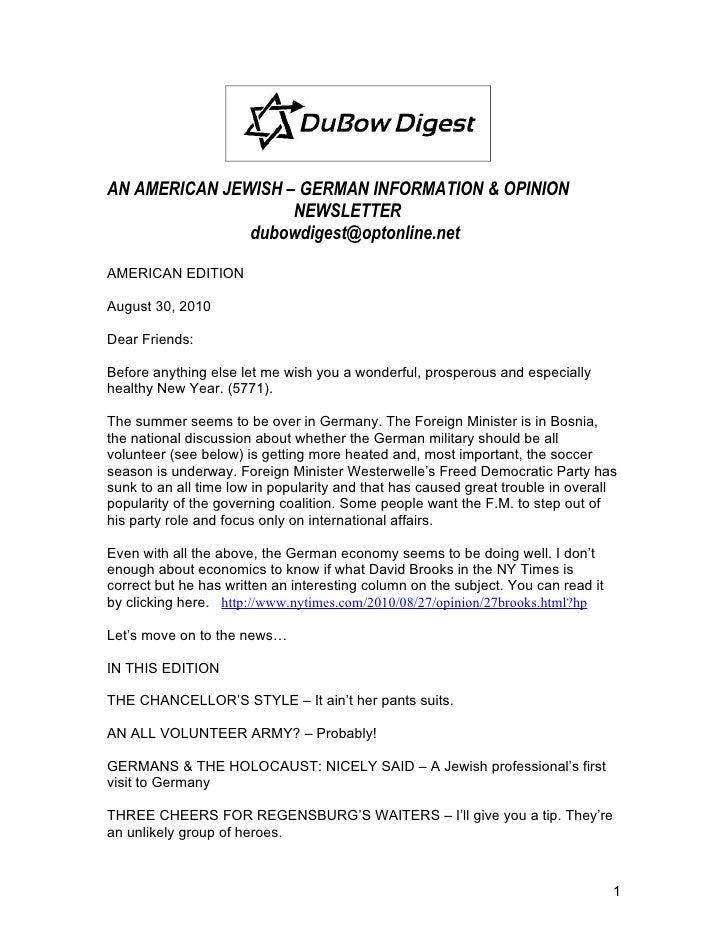 AN AMERICAN JEWISH – GERMAN INFORMATION & OPINION                     NEWSLETTER                dubowdigest@optonline.net ...
