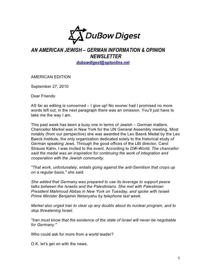 AN AMERICAN JEWISH – GERMAN INFORMATION & OPINION                       NEWSLETTER                          dubowdigest@op...