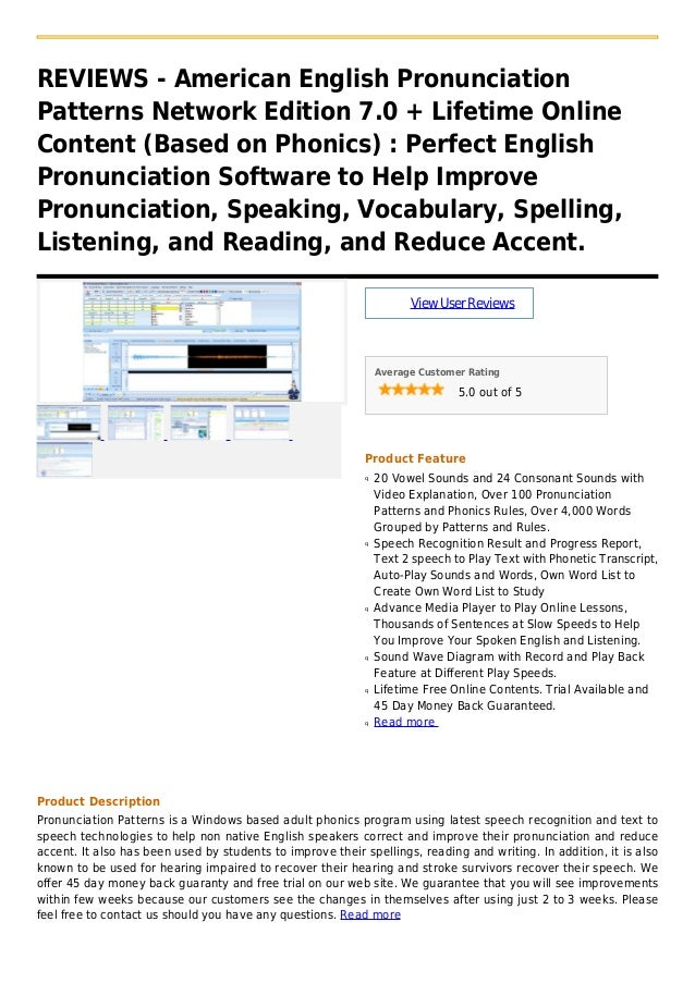 REVIEWS - American English PronunciationPatterns Network Edition 7.0 + Lifetime OnlineContent (Based on Phonics) : Perfect...