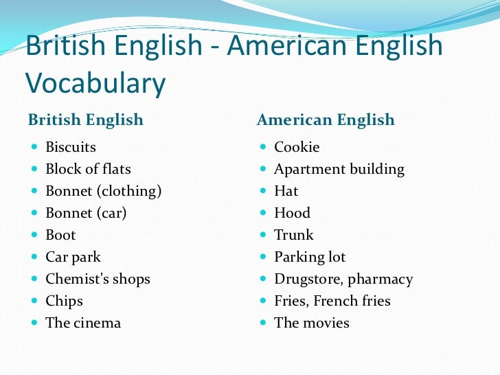 british english american english vocabulary Being an english teacher, with an american accent and vocabularylist imprinted in her brains, who teaches british english to her students i came up with this interactive british/american english vocabulary boardin this instructable i will show you how to design and build your own interactive english vocabulary board.