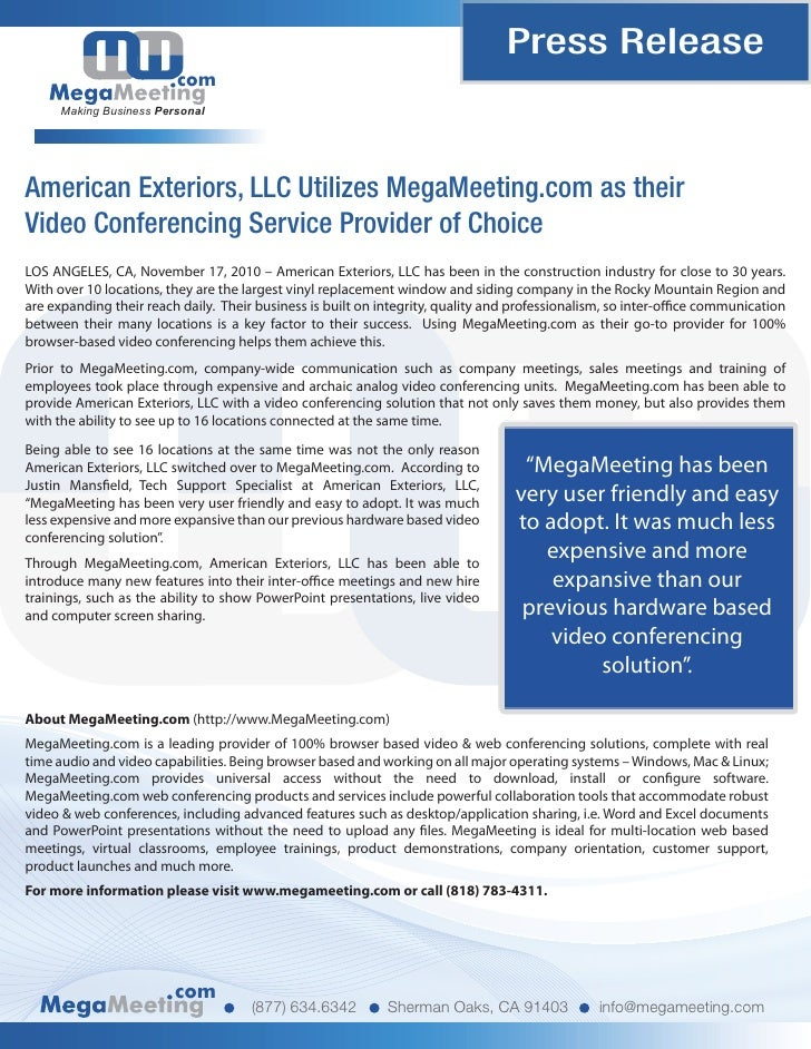 American Exteriors, LLC Utilizes MegaMeeting.com as their Video Confe…