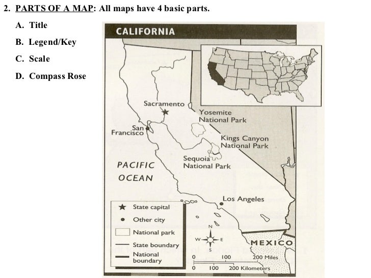 American Geography PPT 2012 – Parts of a Map Worksheet