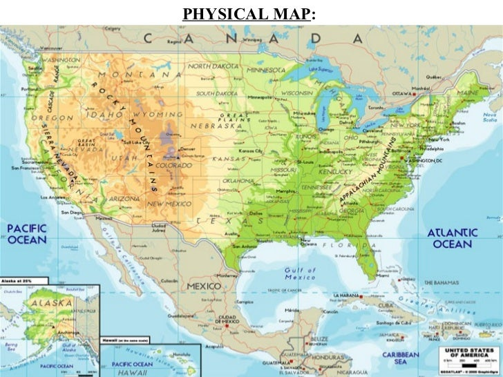 Us Map With Mountains And Rivers
