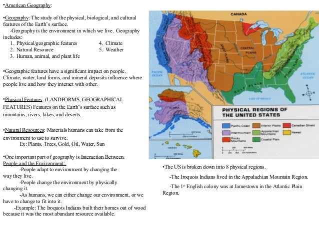 American Geography Review Pp - 8 physical features of the united states