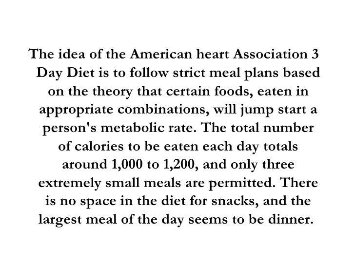 american heart association 3 day diet menu