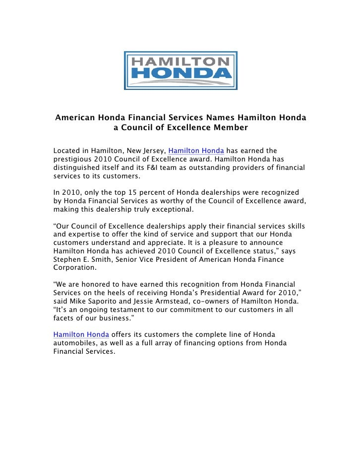 American Honda Financial Services Names Hamilton A Council Of Excellence MemberLocated In