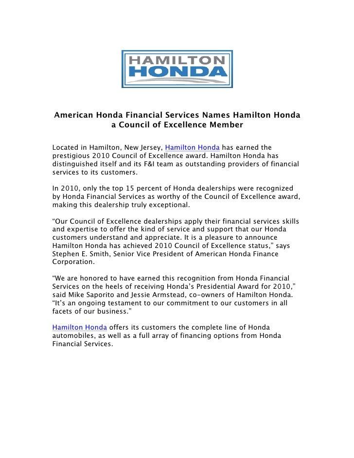 Honda Financial Services Number >> American Honda Financial Services Names Hamilton Honda A Council Of E
