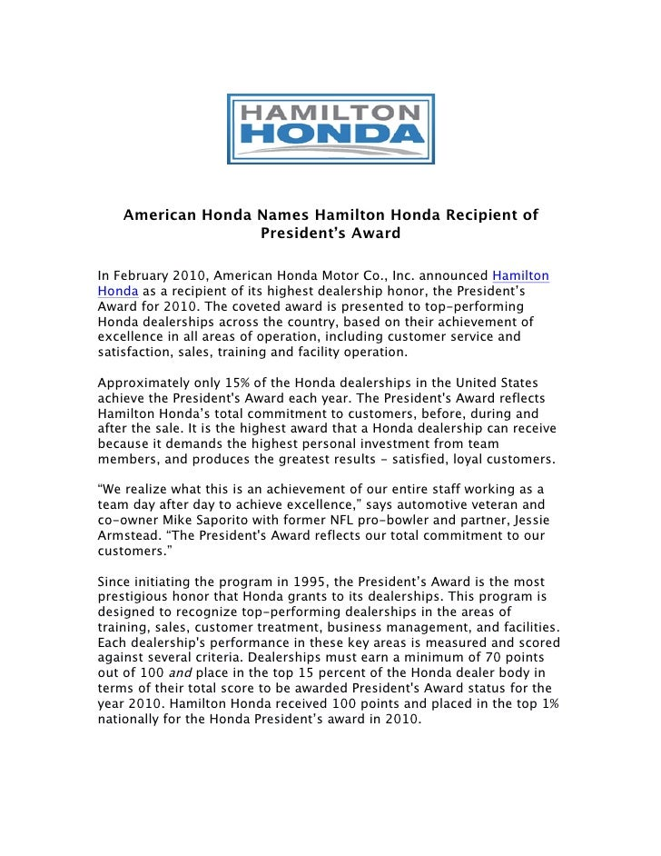 American Honda Names Hamilton Honda Recipient Of Presidentu0027s AwardIn  February 2010, ...